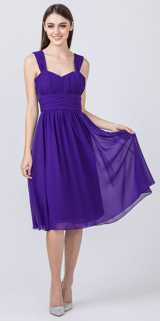 Starbox USA 6032 Purple Knee Length Bridesmaid Dress Ruched-Bodice