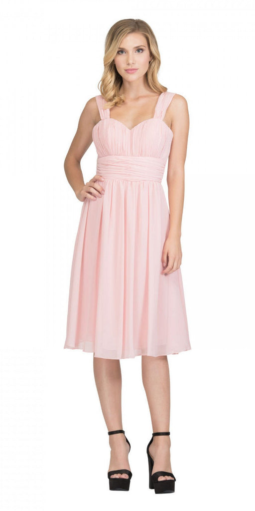Blush Short Wedding-Guest Dress Ruched-Bodice
