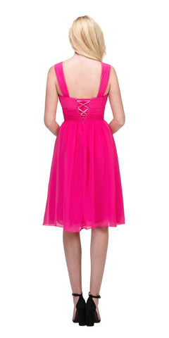 Fuchsia Short Wedding-Guest Dress Ruched-Bodice
