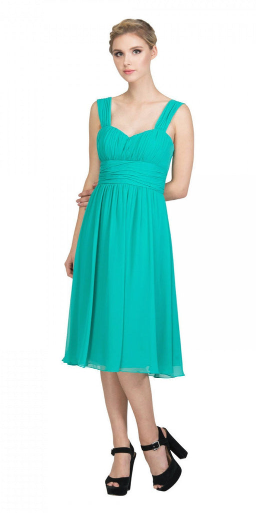 Starbox USA 6032 Jade Short Wedding-Guest Dress Ruched-Bodice