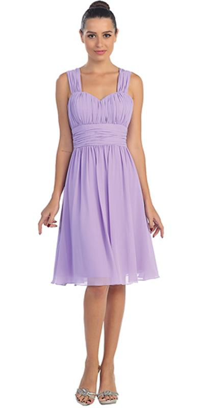 Lilac Short Wedding Guest Dress Ruched Bodice