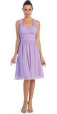 Lilac Short Wedding-Guest Dress Ruched-Bodice