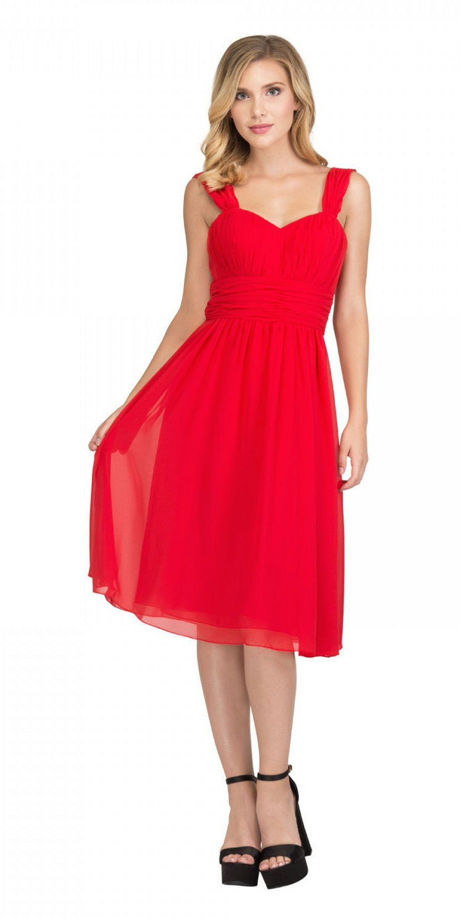 Red Short Wedding Guest Dress Ruched Bodice