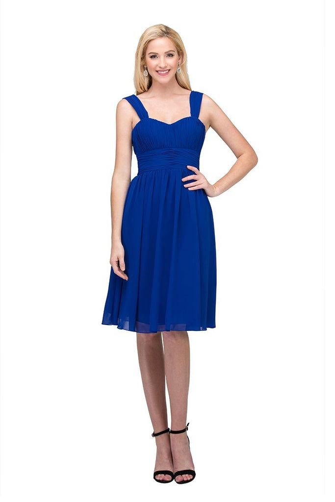 Royal Blue Short Wedding-Guest Dress Ruched-Bodice