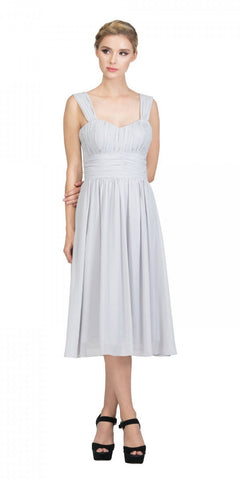 Starbox USA 6032 Silver Short Wedding-Guest Dress Ruched-Bodice