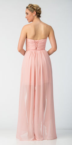 Chiffon High Low Blush Dress Strapless Rhinestone Center Back View
