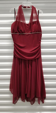 CLEARANCE - Cocktail Burgundy Dress Knee Length Halter (Size 3XL)
