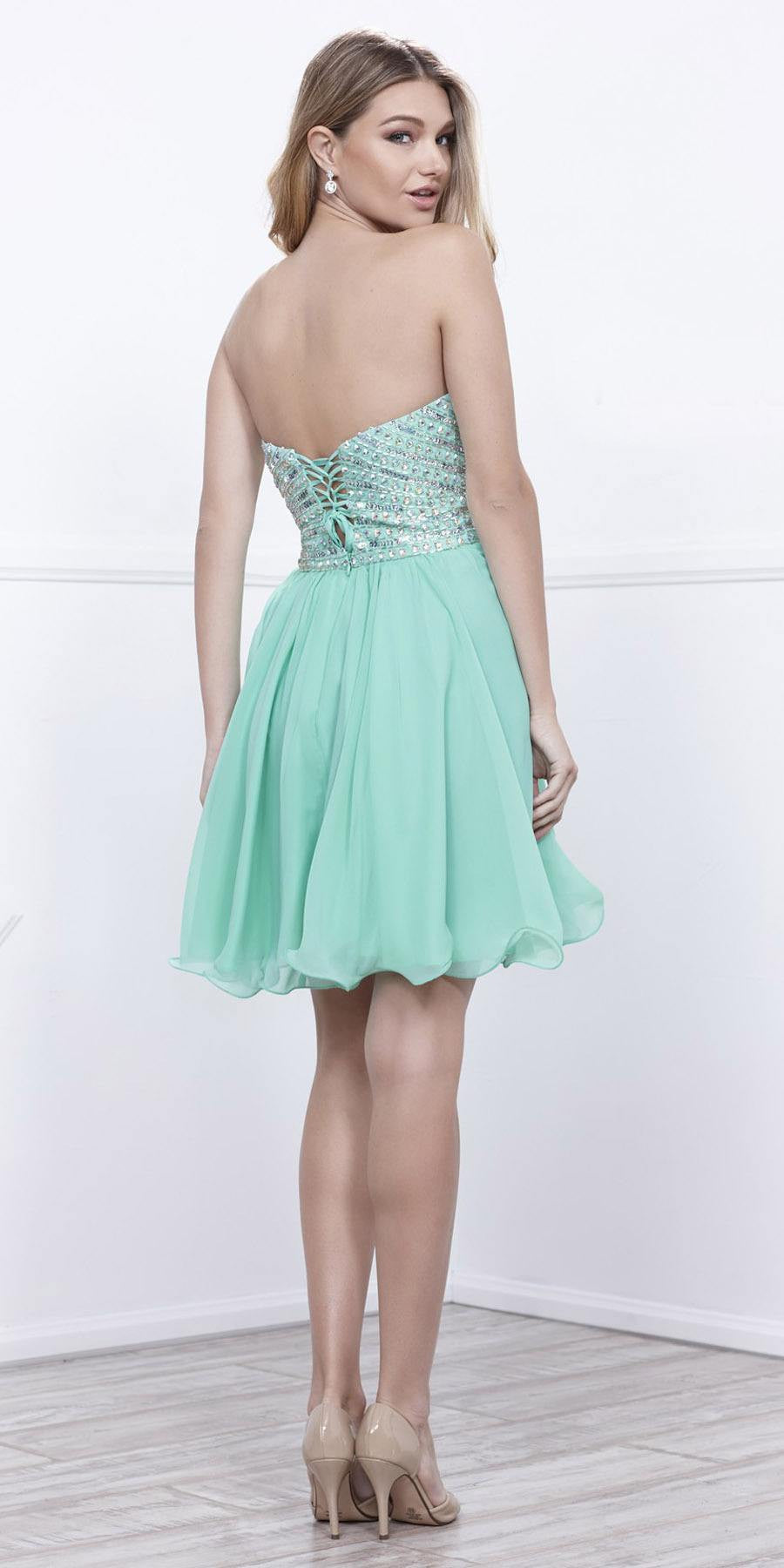 Short Strapless Homecoming Dress Sweetheart Neckline Mint Green ...