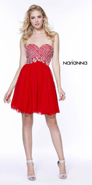 Short Strapless Homecoming Dress Sweetheart Neckline Red