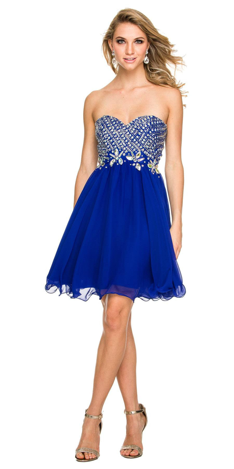 Short Strapless Homecoming Dress Sweetheart Neckline Royal Blue