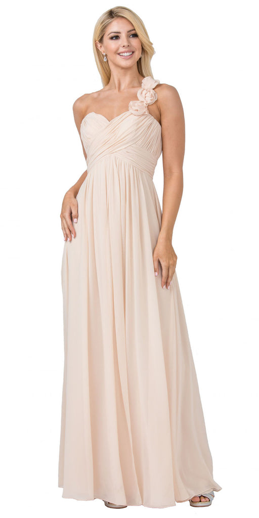 One Shoulder Ruched Champagne Long A-Line Chiffon Bridesmaid Gown
