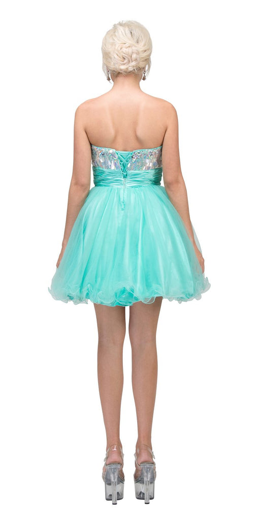 Starbox USA 6035 Studded Bodice Strapless Ruched Short Mint Sweet 15 Dress Back View