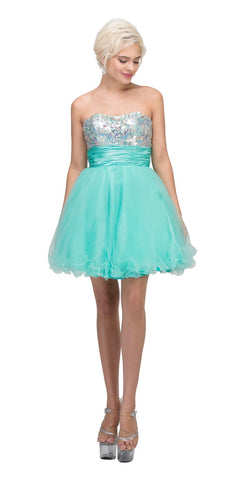 Starbox USA 6035 Studded Bodice Strapless Ruched Short Mint Sweet 15 Dress