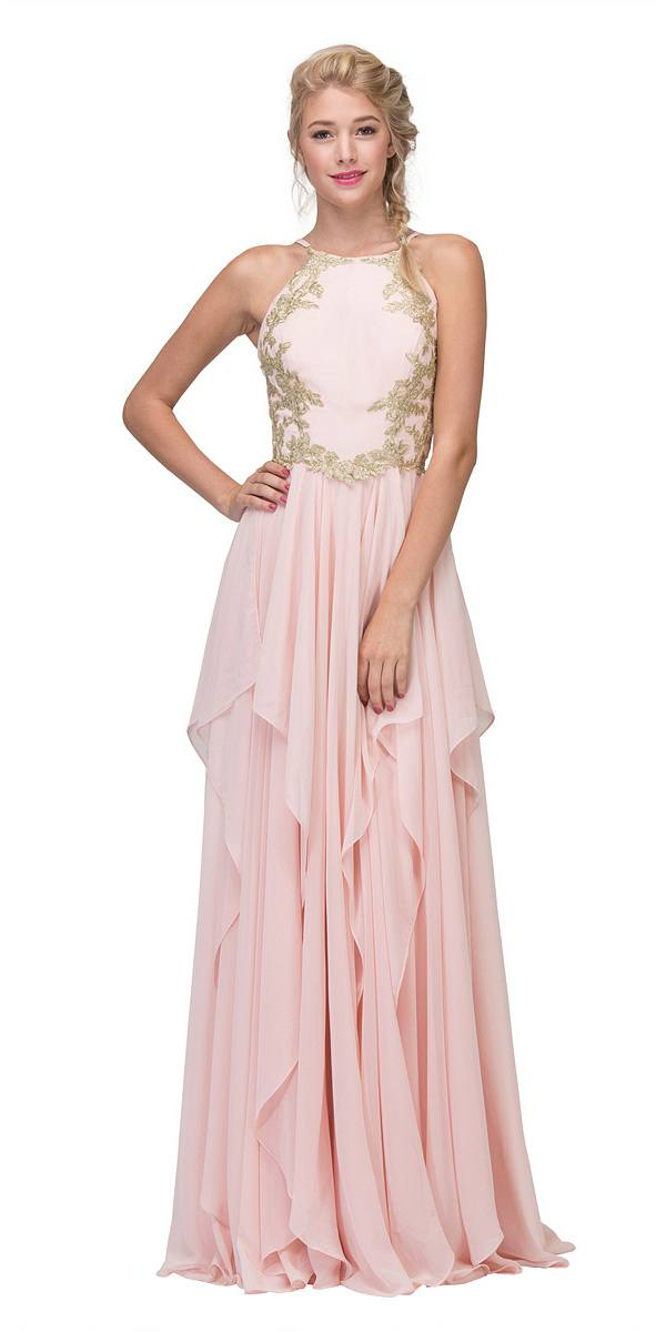 Eureka Fashion 6036 A-line Tiered Long Prom Dress Appliqued Bodice ...
