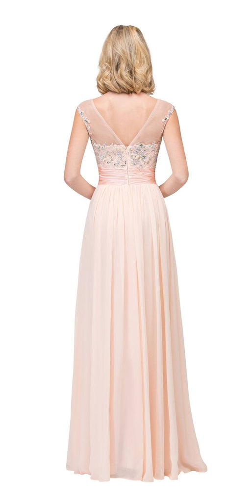 Starbox USA 6037 Peach Formal Evening Gown Front Slit Sleeveless Bateau Neck Back View