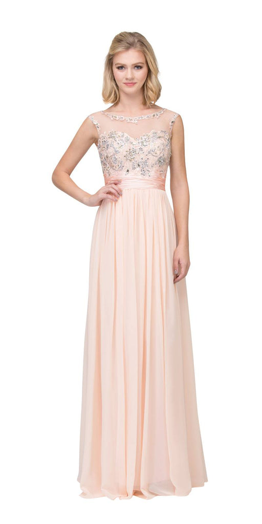 Starbox USA 6037 Peach Formal Evening Gown Front Slit Sleeveless Bateau Neck