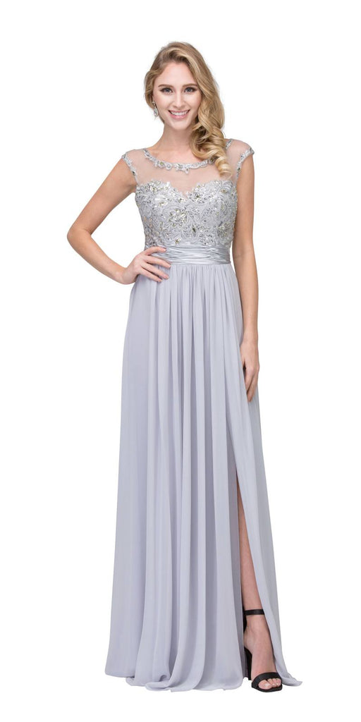 Starbox USA 6037 Silver Formal Evening Gown Front Slit Sleeveless Bateau Neck