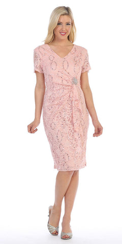 Celavie 6038 Short Sleeved Short Side Gathered Blush Cocktail Dress
