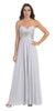 Sweetheart Neck Silver Formal Gown Long Flowy Strapless