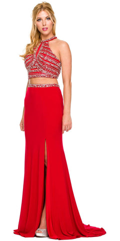 Formal 2 Piece Red Gown ITY Stretch Rhinestones Halter