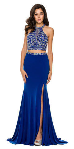 Formal 2 Piece Royal Blue Gown ITY Stretch Rhinestones Halter