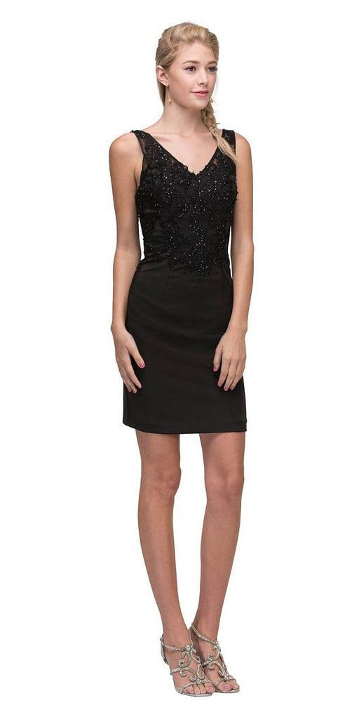 Black Short Party Dress with Lace Appliques