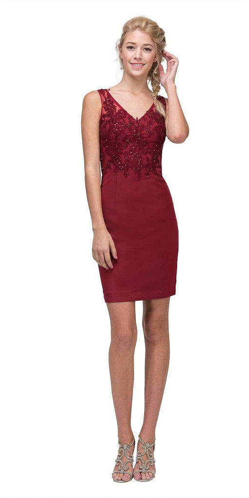 Burgundy Short Party Dress with Lace Appliques