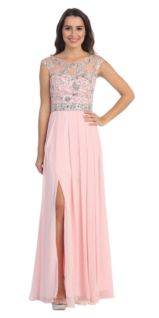Starbox USA 6041-2 Chiffon Flowy Blush Evening Gown Long Cap Sleeve Bateau Neck