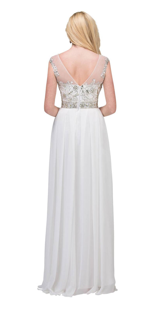 Starbox USA 6041-2 Chiffon Flowy White Evening Gown Long Cap Sleeve Bateau Neck Back View