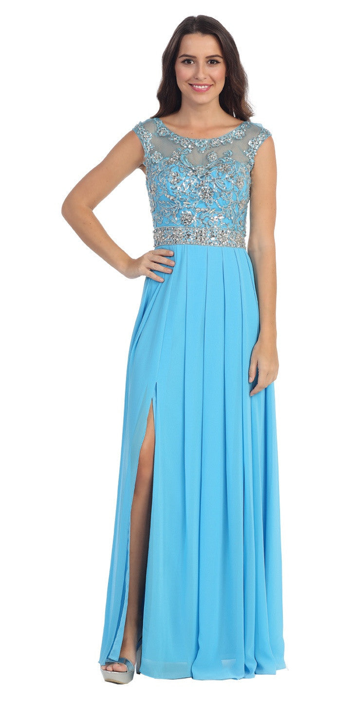 Chiffon Flowy Turquoise Evening Gown Long Cap Sleeve Bateau Neck