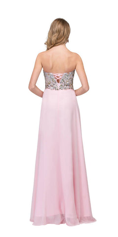 Starbox USA 6043 Floor Length Chiffon Blush Evening Gown Strapless Sparkly Rhinestones Back View