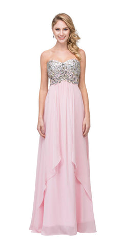 Starbox USA 6043 Floor Length Chiffon Blush Evening Gown Strapless Sparkly Rhinestones