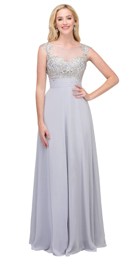 Starbox USA 6046 Evening Gown Silver Full Length Cap Sleeve Illusion Neck