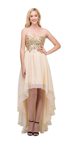 Layered Chiffon High Low Champagne Dress Strapless Beaded Bodice