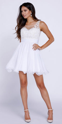 Short Homecoming Dress Illusion Appliqued Bodice V-Shape Back White