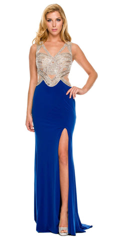 Long Sheath Gown Royal Blue ITY Stretch Slit V Neck Rhinestone Top