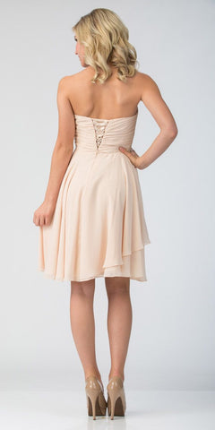Starbox USA 605-1 Short Chiffon Knee Length Bridesmaid Dress Champagne Strapless Back View