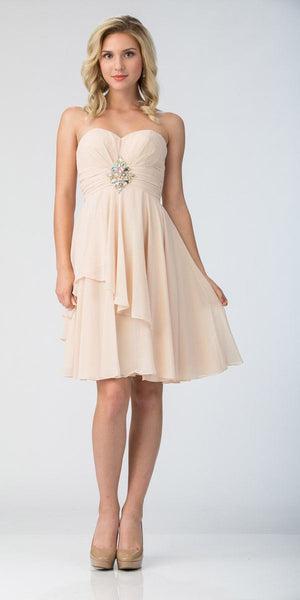 Starbox USA 605-1 Short Chiffon Knee Length Bridesmaid Dress Champagne Strapless