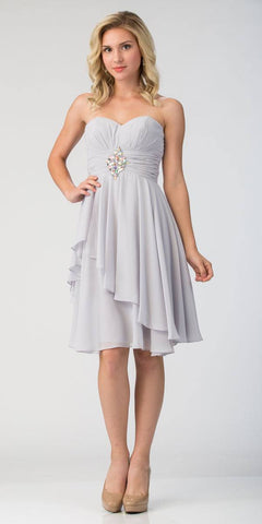 Starbox USA 605-1 Short Chiffon Knee Length Bridesmaid Dress Silver Strapless