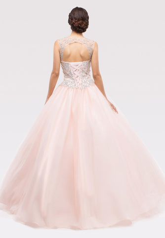 Blush Beaded Bodice Quinceanera Dress with Lace Up Cut-Out Back