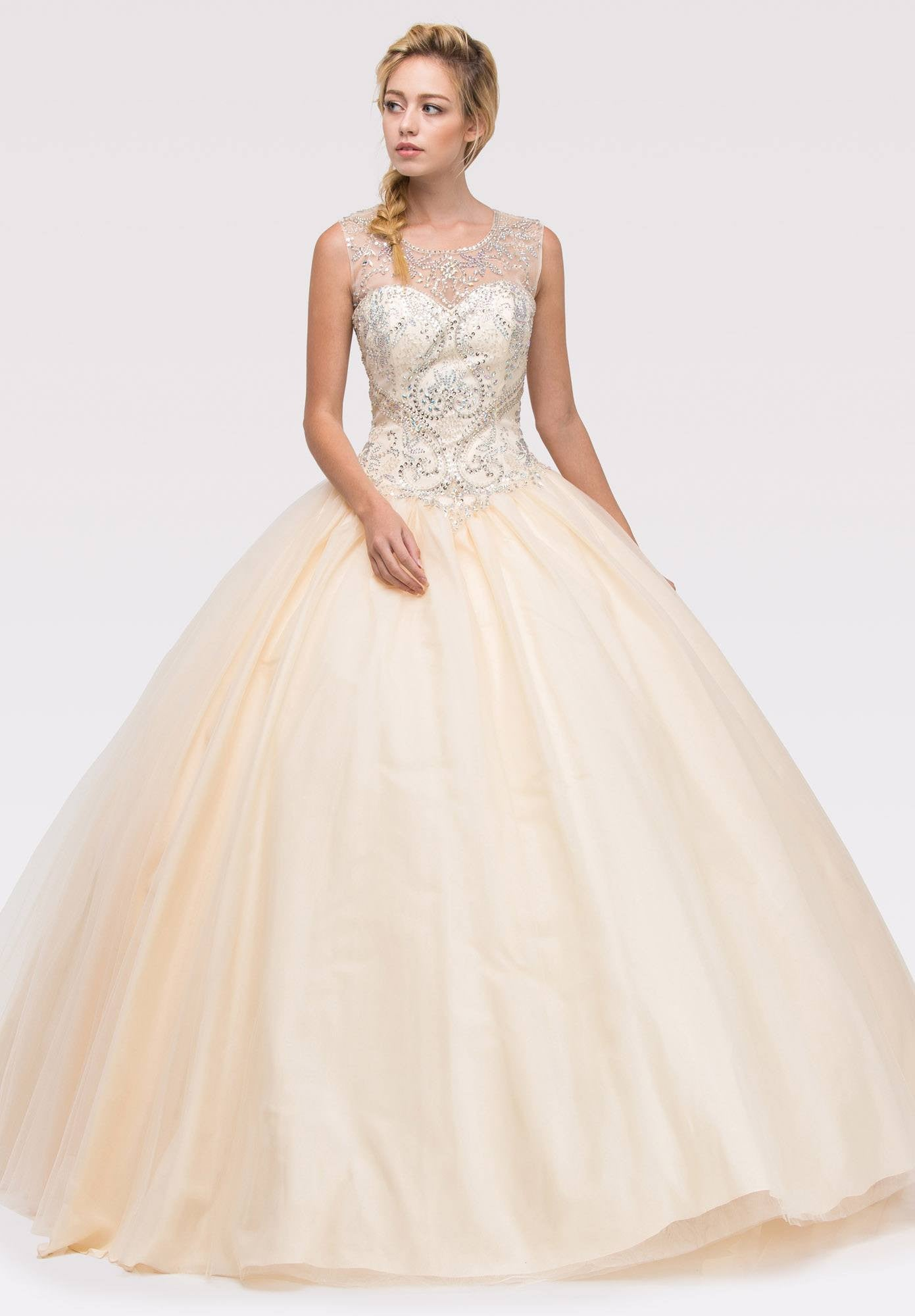 Champagne Beaded Bodice Quinceanera Dress with Lace Up Cut-Out Back ...