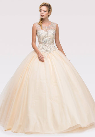 Champagne Beaded Bodice Quinceanera Dress with Lace Up Cut-Out Back