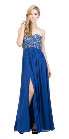 Starbox USA 6051 Royal Blue Empire Waist Chiffon Flowy Gown Sweetheart Neckline