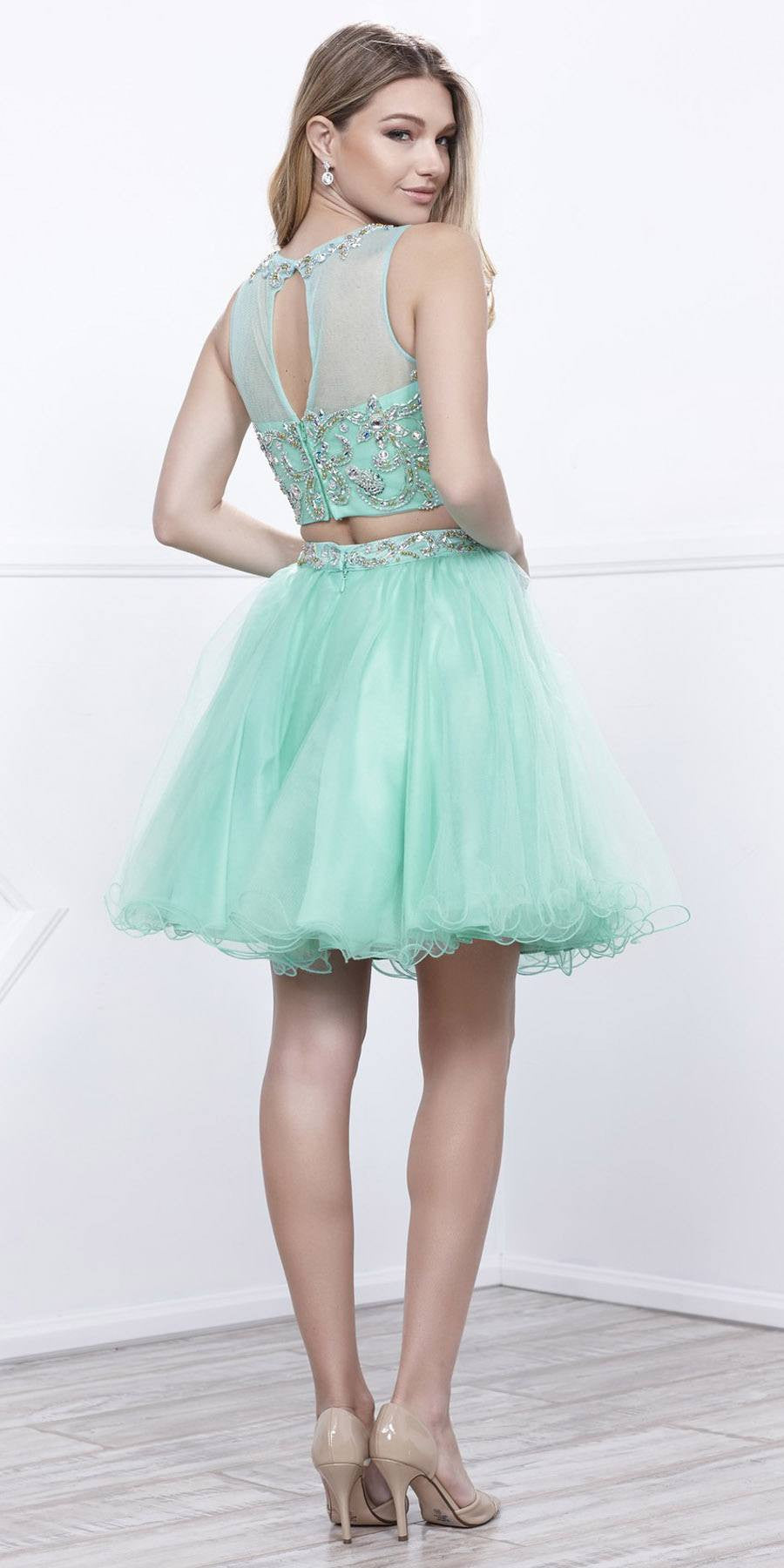 Silver Two-Piece Short Prom Dress Illusion Neckline Cut Out Back ...