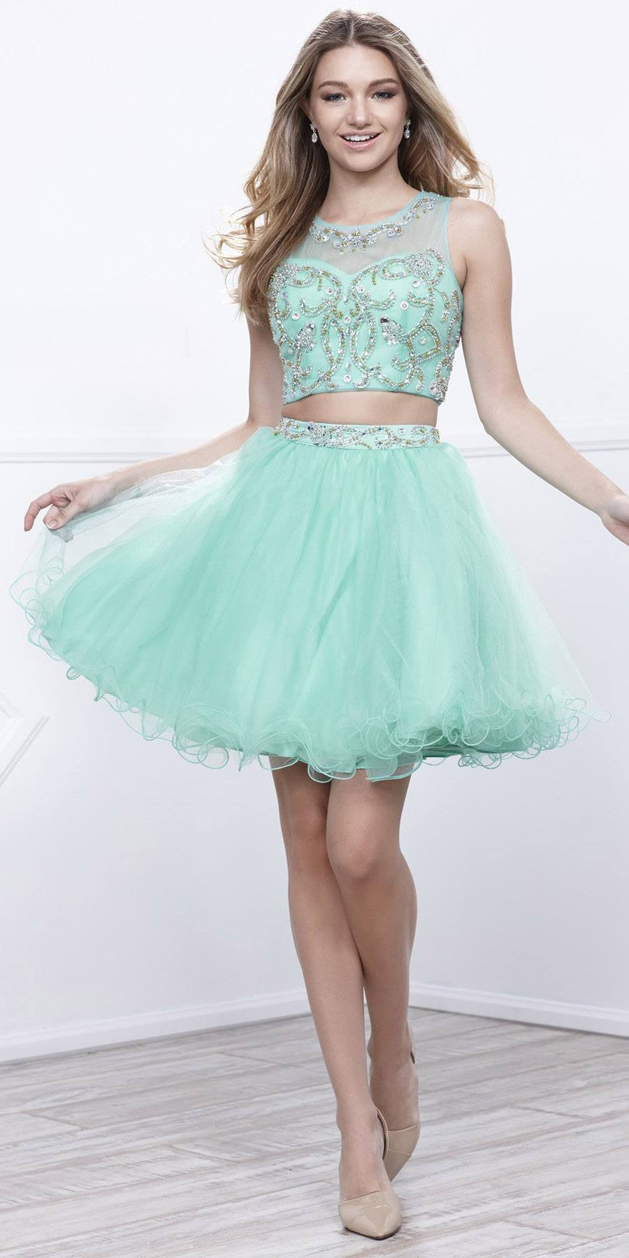 Mint Green Two-Piece Short Prom Dress Illusion Neckline Cut Out ...