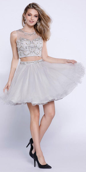 Silver Two-Piece Short Prom Dress Illusion Neckline Cut Out Back