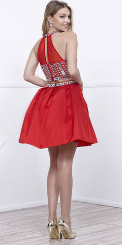 Two-Piece Prom Dress Short Beaded Top Grecian Neckline Red