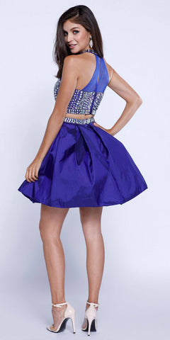 Two-Piece Prom Dress Short Beaded Top Grecian Neckline Royal Blue