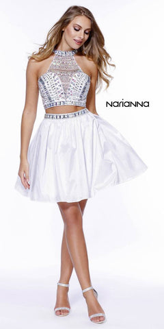 Two-Piece Prom Dress Short Beaded Top Grecian Neckline White