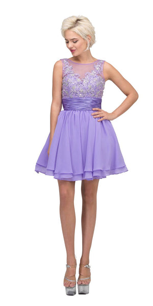 Starbox USA 6054 Short Bateau Neck Lilac Dress Chiffon A Line Illusion